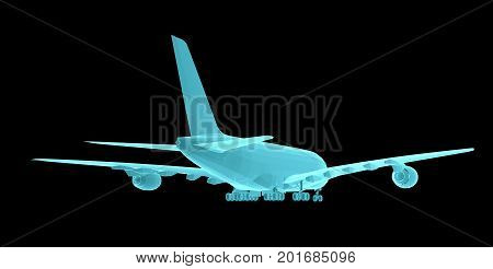 Airplane. Xray image isolated on black. 3d illustration