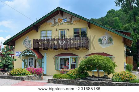 HELEN, GEORGIA, USA - AUGUST 22, 2017: Helen, Georgia is located in White County and is a replica of a Bavarian Alpine town. The city is popular for its Oktoberfest held from September to November.
