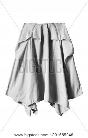 Gray casual draped midi skirt on white background