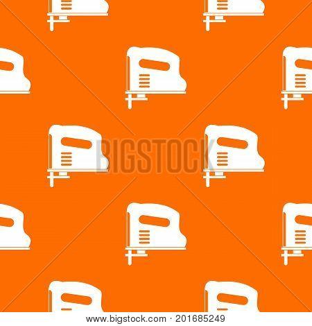 Pneumatic gun pattern repeat seamless in orange color for any design. Vector geometric illustration