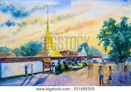 Watercolor landscape original painting colorful of temple and family on holiday with beautiful sunlight and sky,cloud background.