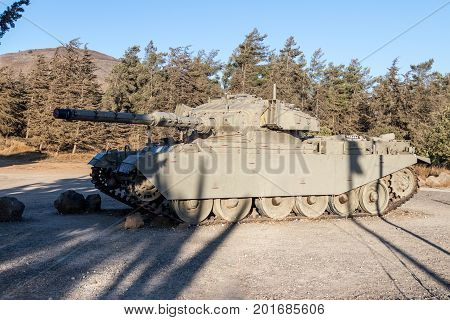 The Israeli tank is after the Doomsday (Yom Kippur War) on the Golan Heights in Israel near the border with Syria