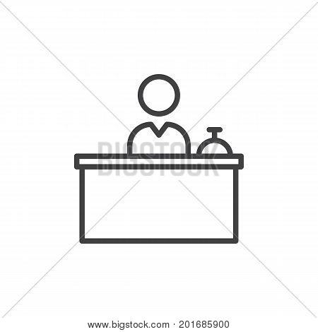 Front Desk line icon, outline vector sign, linear style pictogram isolated on white. Reception symbol, logo illustration. Editable stroke. Pixel perfect vector graphics