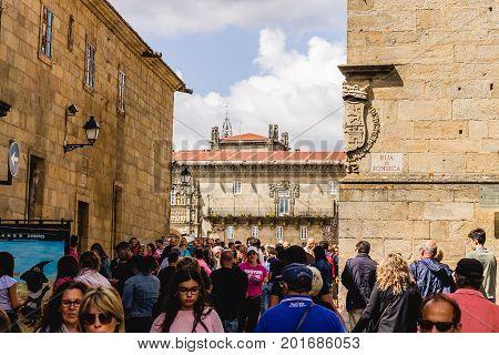 SANTIAGO DE COMPOSTELA, SPAIN. AGUST 9, 2017. Mass tourism in the city centre of Santiago de Compostela during summer.