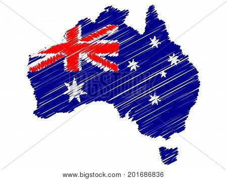 Australian flag map icon hand drawn scribble effect EPS10 vector illustration isolated on white background.