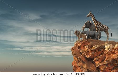 The wild animals - an lion rhino elephant giraffe sitting on edge of a cliff and admiring the landscape. This is a 3d render illustration
