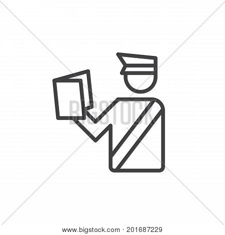 Customs Officer line icon, outline vector sign, linear style pictogram isolated on white. Poliiceman symbol, logo illustration. Editable stroke. Pixel perfect vector graphics