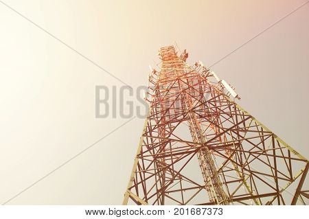 Up view mobile range antenna tower mast communication electricity radio reception news delivery send transmission tower wireless technology