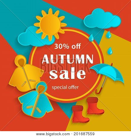 Autumn sale banner with white round frame and fall objects raincoat, umbrella, rubber boots on abstract background, flat cartoon vector illustration. Autumn fall sale banner with flat cartoon elements