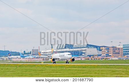 Airplane From Condor At Takeoff, Airport Stuttgart, Germany
