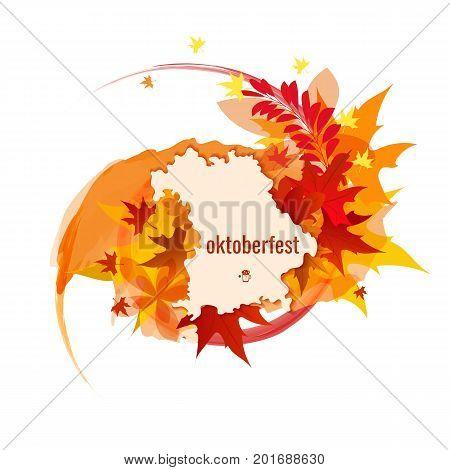 Banner for Octoberfest with color splash, autumn leaves, map of Bavaria. Vector illustration