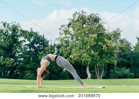 Caucasian Woman Performing Yoga