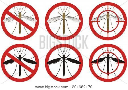 Warning stop signs with a colored detailed image of a mosquito and its black silhouette inside a red sign on a white background. Fighting insect pests.