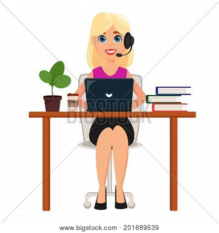 Business woman working on laptop at her office desk. Pretty cartoon character with headset. Cute cartoon character. Modern color vector illustration.