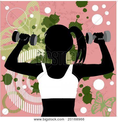 fitness over grunge background