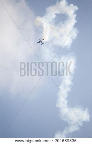 Radom, Poland - August 26, 2017 :aerobatic Extra 300 Plane During  Air Show Radom 2017.