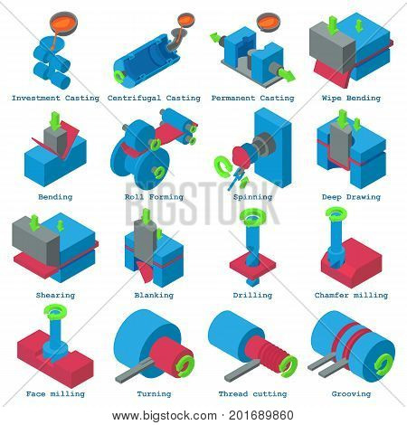 Metalwork icons set. Isometric illustration of 16 metalwork vector icons for web
