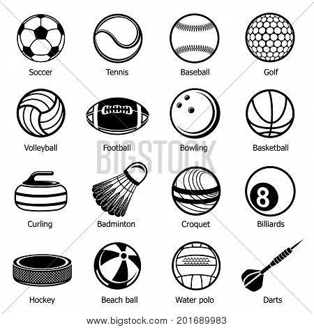 Sport balls equipment icons set. Simple illustration of 16 sport balls equipment vector icons for web