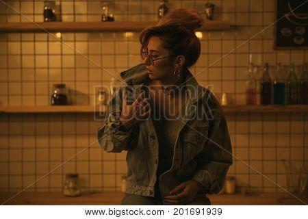 Fashionable Girl In Denim Jacket