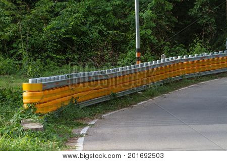 Curve Road Guardrail Pole