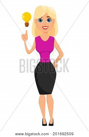 Business woman cartoon character. Cute blonde businesswoman has a brilliant idea. Vector illustration on white background.