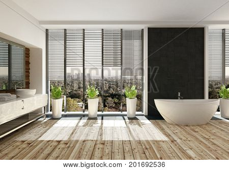 Landscape view of a room with large wide window with view of trees with multiple plants in white pots and big white tub. 3d Rendering.