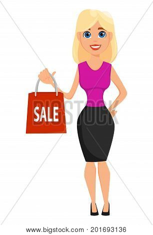 Business woman cartoon character. Cute blonde businesswoman holding paper bag for sale. Vector illustration on white background.