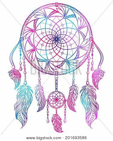Colorful dream catcher with ornament and feathers. Design concept for banner, card, t-shirt, print, poster. Vintage hand drawn vector illustration