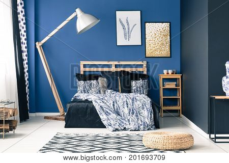 Blue Bedroom With Gold Accents