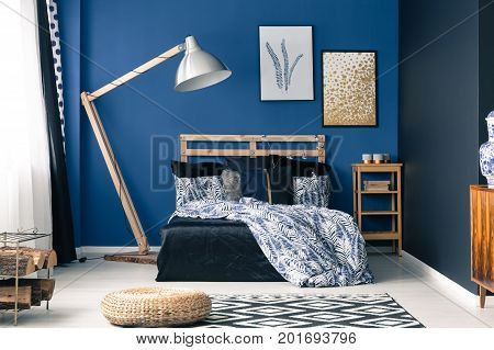 Bedroom In Rich Blue Color