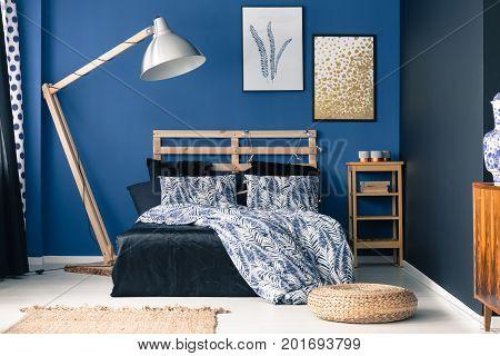 Indigo Tones In Classy Bedroom