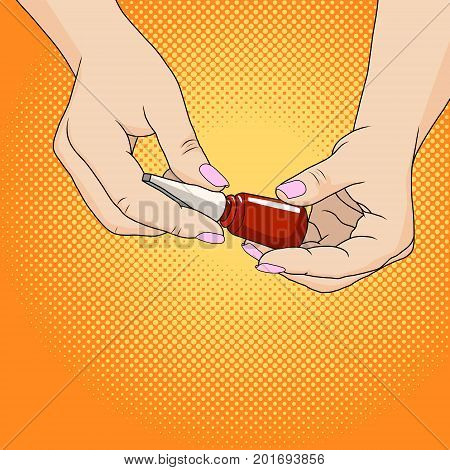 Hands of a woman with dark red manicure and nail polish bottle. Homemade beauty salon. Cost savings. Caring for fingernails pop art retro style.