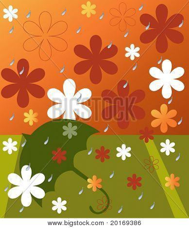 flowers in spring rain vector