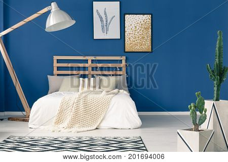 Blue Walls And Light Bedding