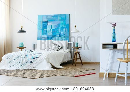 Stylish Bedroom With Contemporary Painting