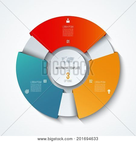 Circle infographic template. Process wheel. Vector pie chart. Business concept with 3 options. Can be used for diagram graph chart step by step infographics web design