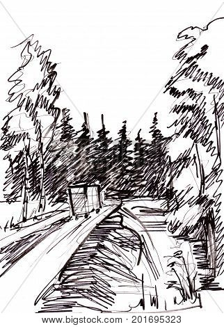 Instant sketch rural road in the forest
