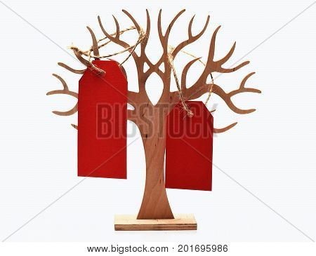 Tree With Red Shopping Tag Isolated On White, Copy Space
