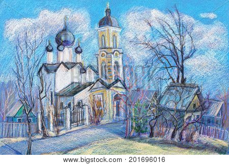 Landscape of church with a belltower, march