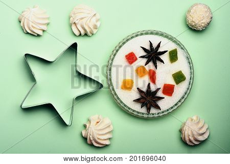 Sweets On Light Green Background