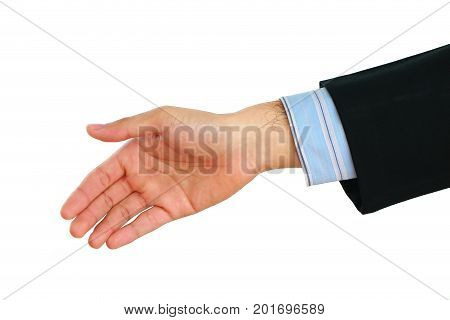 hand shake of business man isolated on white background