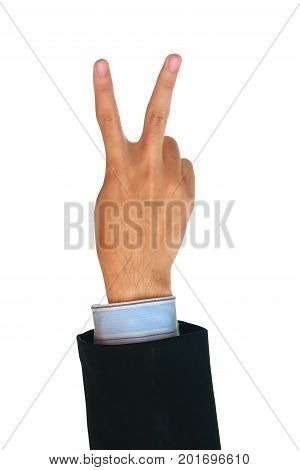Hand showing two fingers isolated on white background