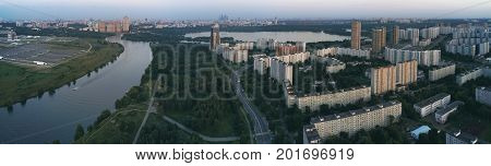 Moscow city from above. View from drone