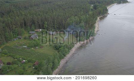 Roja Latvia Baltic Sea Seaside Aerial Drone Top View