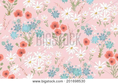 vector seamless floral pattern with colorful flowers - chamomiles, poppy flowers and cornflowers