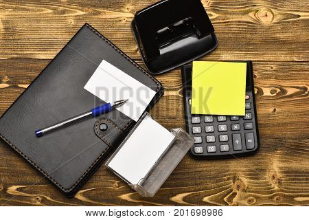 Leather Covered Notebook And Stationery, Top View