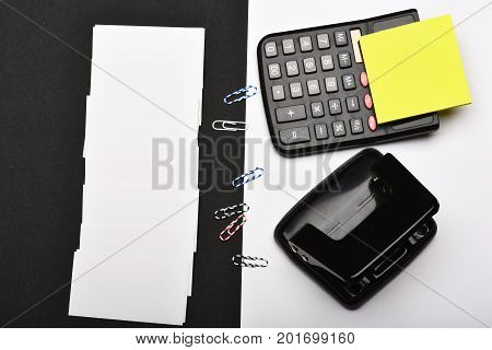 Stationery Opposite Blank Business Cards, Top View