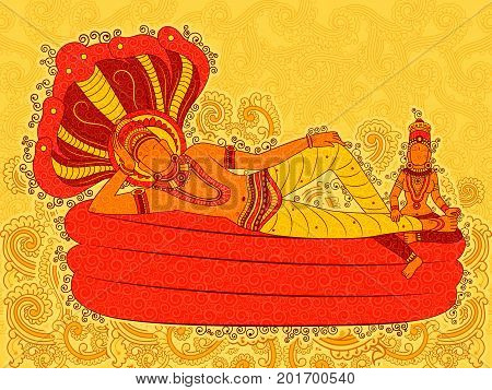 Vector design of Abstract Statue painting of Indian Lord in India art style