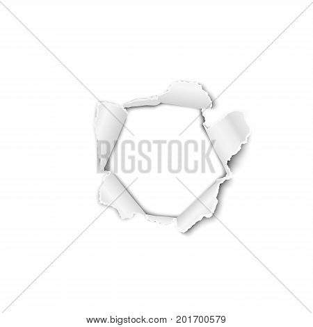 Vector torn paper with curled edges and hole in the center soft shadow and space for text. Damaged sheet with white background for ad and other aims. Template paper design.