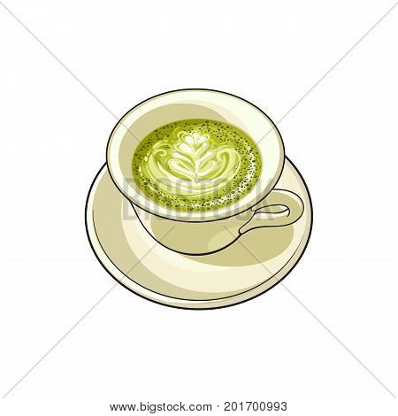 vector sketch cartoon hand drawn cup of whipped green mathca coffee on a plate top view. Isolated illustration on a white background.
